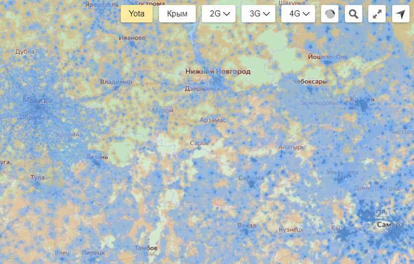 Карта покрытия Yota в зоне Алдан