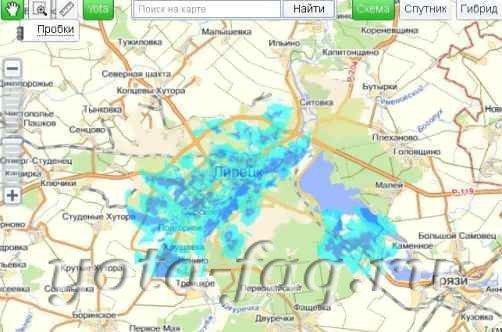Карта Базовые Станции Yota Краснодар