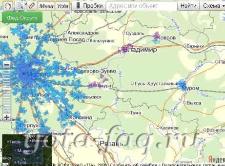 Первая обновленная карта 2013 Покрытия сети 4G LTE Yota + Мегафон