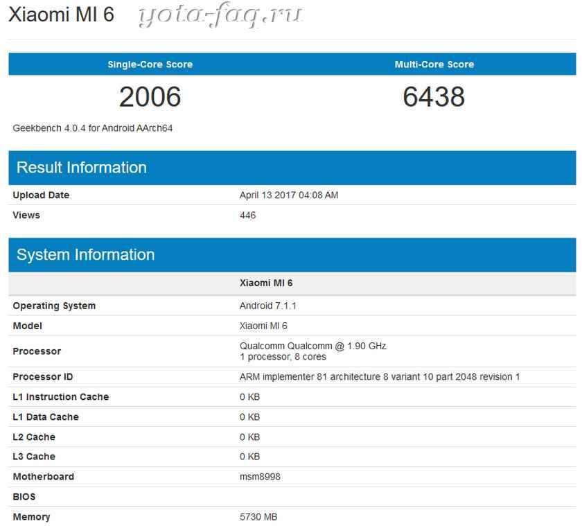 Xiaomi Mi 6 с новым Android 7.1.1 уже 14 апреля